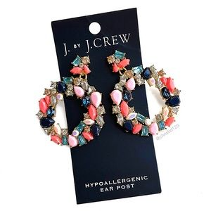 J. Crew Colorful Wreath Statement Earrings